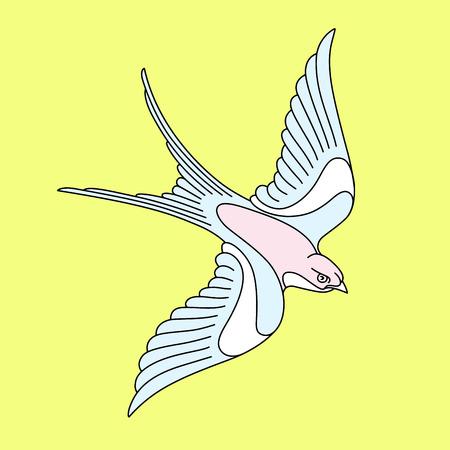 飛んでいるツバメや swift とタトゥーのデザイン。優雅な鳥ベクトル イラストが黄色の背景上に分離します。