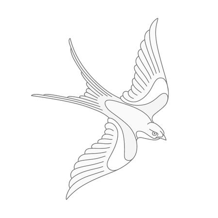 Flying swallow or swift tattoo design. Elegant bird vector illustration.
