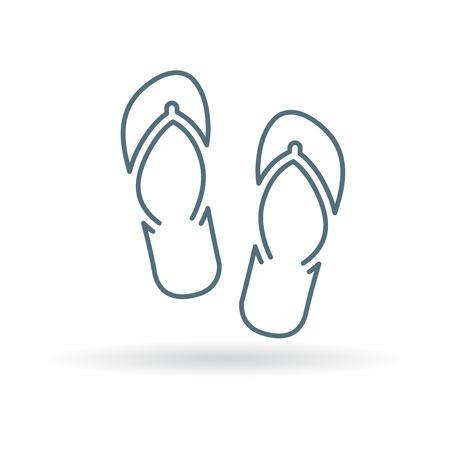 Strand schwappt Symbol. Flip-Flops Symbol. Sommer Sandalen unterzeichnen. Thin Line-Symbol auf weißem Hintergrund. Vektor-Illustration.