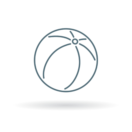summer sign: Beach ball icon. Inflatable beachball symbol. Summer beach ball sign. Thin line icon on white background. Vector illustration.