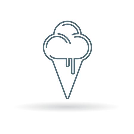 soft serve: Ice cream cone icon. Icecream scoop sign. Soft serve dessert symbol. Thin line icon on white background. Vector illustration.