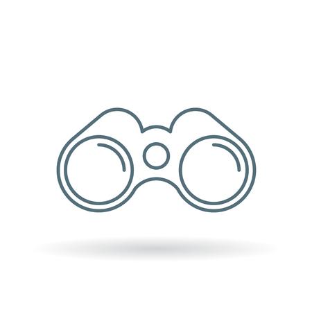 distance: Binoculars icon. Binocular symbol. Optical instrument sign. Thin line icon on white background. Vector illustration.