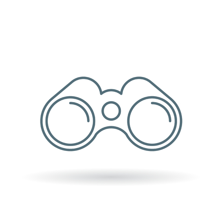 Binoculars icon. Binocular symbol. Optical instrument sign. Thin line icon on white background. Vector illustration.
