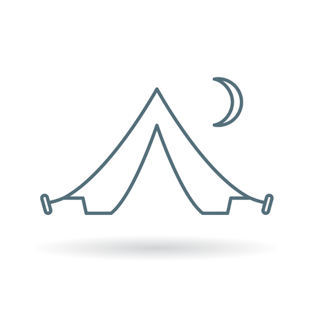 campsite: Tent icon. Campsite symbol. Camping sign. Thin line icon on white background. Vector illustration.