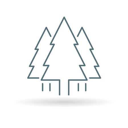 christmas symbol: Tree icon. Pine tree forest sign. Christmas tree symbol. Thin line icon on white background. Vector illustration.
