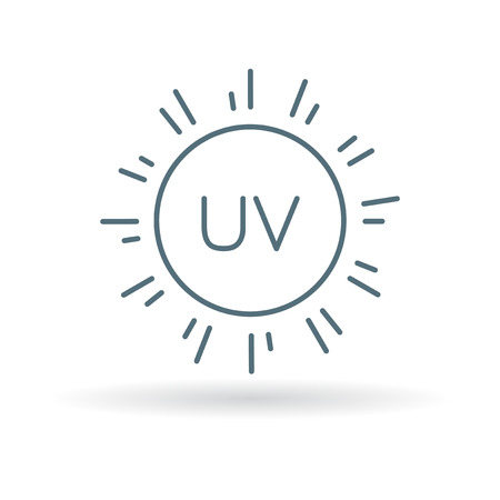 ultraviolet: UV icon. Sun ray sign. Ultra violet sunrays protection symbol. Thin line icon on white background. Vector illustration. Illustration