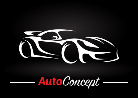 motors: Original auto motor concept design of a super sports vehicle car silhouette on black background. Vector illustration.