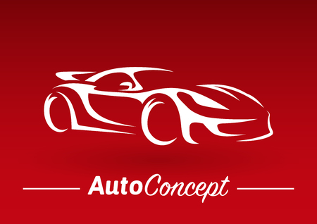 Original auto motor concept design of a super sports vehicle car silhouette on red background. Vector illustration.