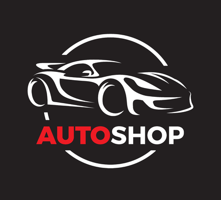 auto shop: Original auto motor concept design of a super sports vehicle car auto shop silhouette on black background. Vector illustration.