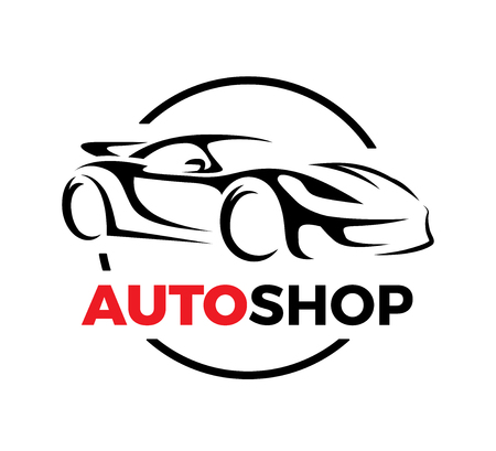 auto shop: Original auto motor concept design of a super sports vehicle car auto shop silhouette on white background. Vector illustration.