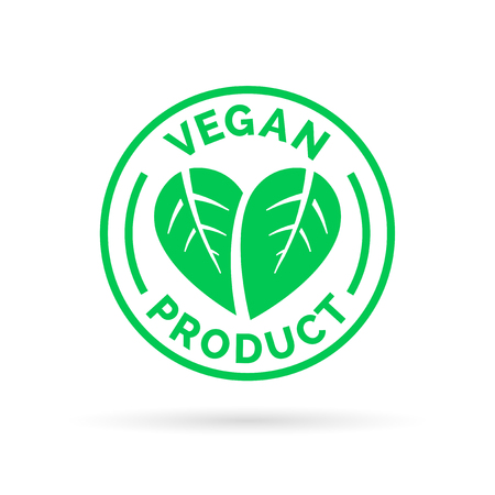 Vegan product icon design. Vegan product symbol. Vegan product stamp with leaves in heart shape design. Vector illustration.