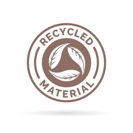 リサイクル製品アイコンのデザイン。リサイクル製品記号のデザイン。円形の葉スタンプ シンボルとアイコン デザインのリサイクル製品。ベクトル