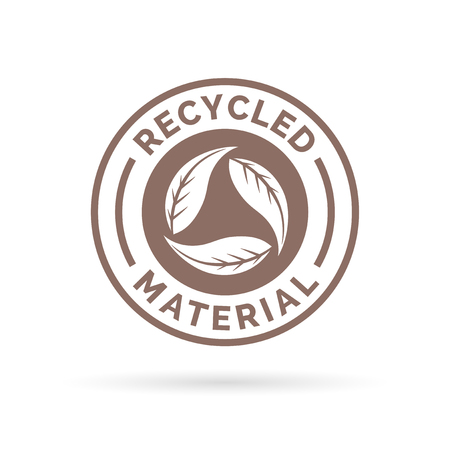 Recycled product icon design. Recycled product sign design. Recycled product icon design with circular leaves stamp symbol. Vector illustration.