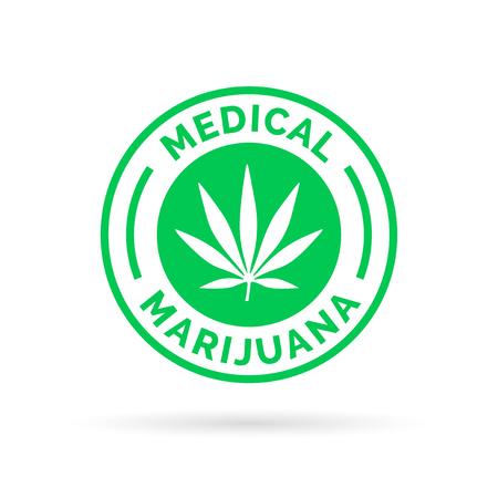 Medical Marijuana icon symbol design with Cannabis hemp leaf stamp sign. Vector illustration.
