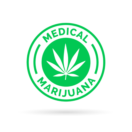 Medical Marijuana icon symbol design with Cannabis hemp leaf stamp sign. Vector illustration.