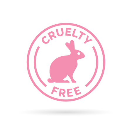 cruelty: Animal cruelty free icon design. Animal cruelty free symbol design. Product not tested on animals sign with pink bunny rabbit stamp. Vector illustration.