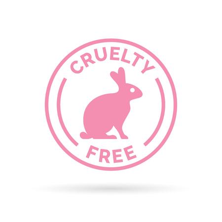 Dierenmishandeling gratis design icoon. Dierenmishandeling gratis symbool design. Product niet getest op dieren te ondertekenen met roze konijn stempel. Vector illustratie.