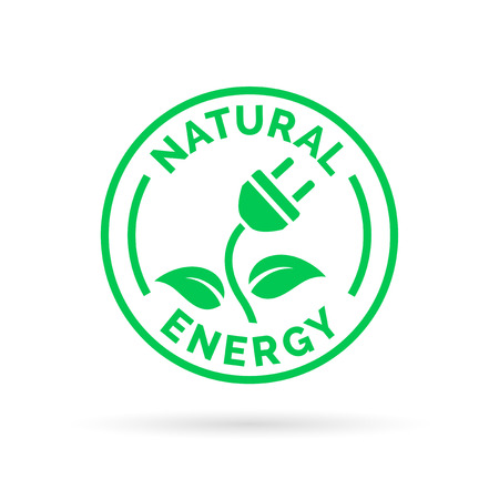 sufficient: Natural green eco energy icon symbol with electric plug, plant and leaf stamp sign. Renewable self sufficient natural electricity power sign. Vector illustration. Illustration