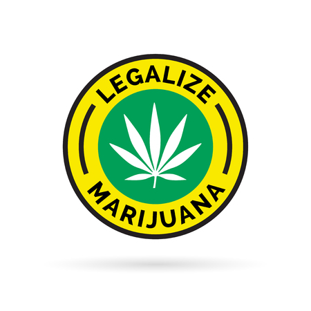 legalize: Legalize marijuana icon with cannabis leaf symbol. Vector illustration. Illustration
