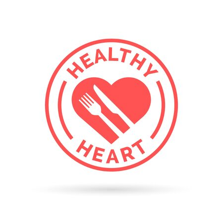 Healthy heart icon with knife and fork silhouette stamp design. Vector illustration.