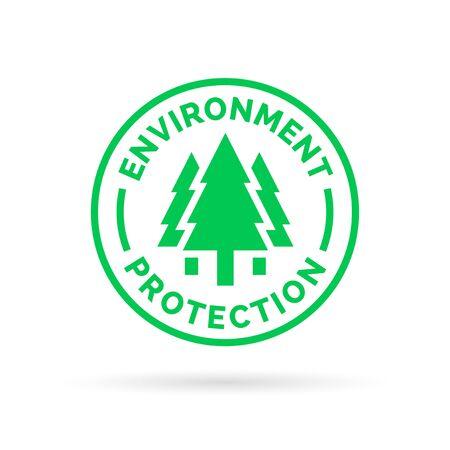 녹색 나무 숲 아이콘 실루엣으로 환경 기호를 저장하고 보호하십시오. 벡터 일러스트 레이 션.