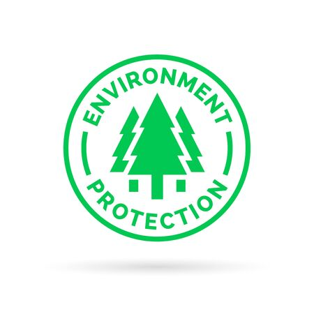 green environment: Save and protect the environment symbol with green tree forest icon silhouette. Vector illustration.