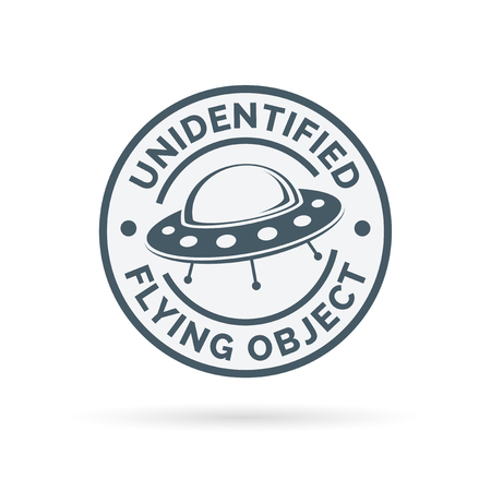 unidentified flying object: UFO icon. Unidentified flying object badge. Flying saucer symbol. Alien spaceship sign. Vector illustration. Illustration