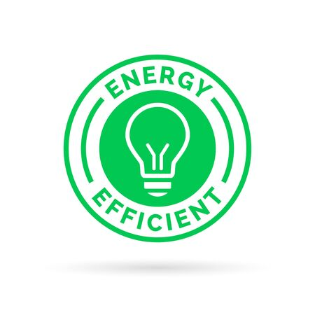 efficient: Energy efficient green eco icon lightbulb symbol design. Vector illustration. Illustration