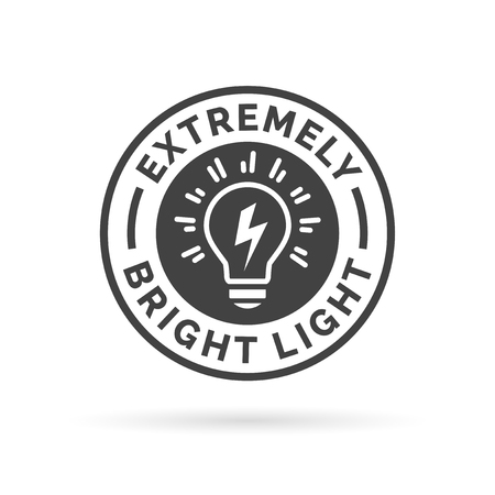 electric torch: Extremely bright and powerful light bulb icon symbol design. Vector illustration.