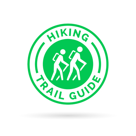 hiking trail: Hiking trail guide symbol with hikers icon. Vector illustration.
