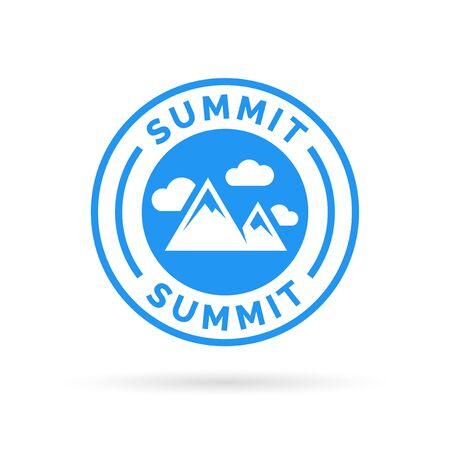 Summit icon with mountain peak symbol stamp. Vector illustration. Stock Vector - 56731571