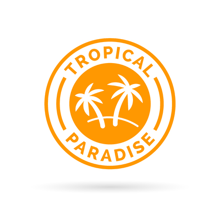 holiday symbol: Tropical holiday paradise icon with palm trees symbol stamp. Vector illustration.