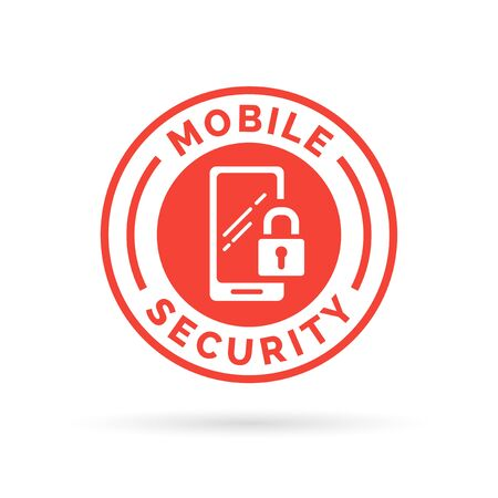 security symbol: Mobile device security icon with padlock and smartphone symbol stamp. Vector illustration. Illustration
