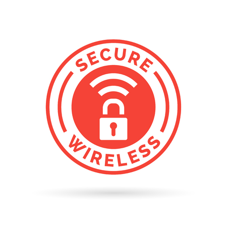 Secure wireless icon with lock and wifi symbol stamp. Vector illustration. Ilustrace