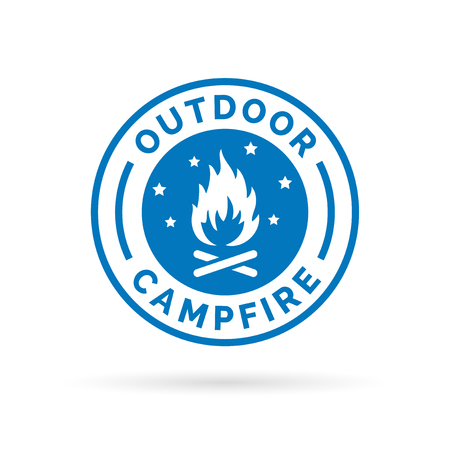 Outdoor campfire icon with wood fire and stars symbol stamp. Vector illustration. Vettoriali