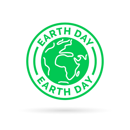 Earth day icon with green world symbol stamp. Save the environment. Vector illustration. Reklamní fotografie - 56724391