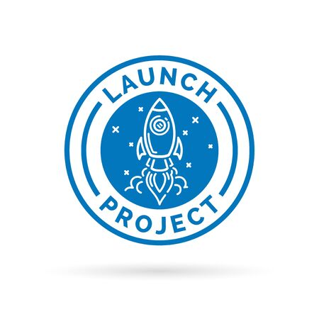 new start: Launch new start up project icon with blue flying space rocket stamp symbol. Vector illustration.
