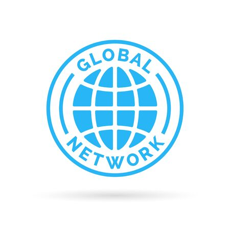 blue network: Global company network icon with blue globe stamp symbol. Vector illustration. Illustration