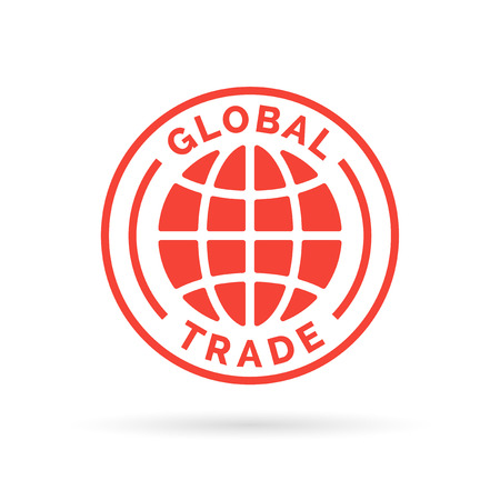 Global trade icon with red globe stamp symbol. Vector illustration.