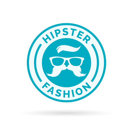 fashion glasses: Hipster fashion icon emblem with blue hippie glasses and mustache symbol stamp. Vector illustration. Illustration