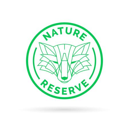 wildlife reserve: Wildlife park nature reserve icon emblem with wild fox symbol stamp. Vector illustration. Illustration