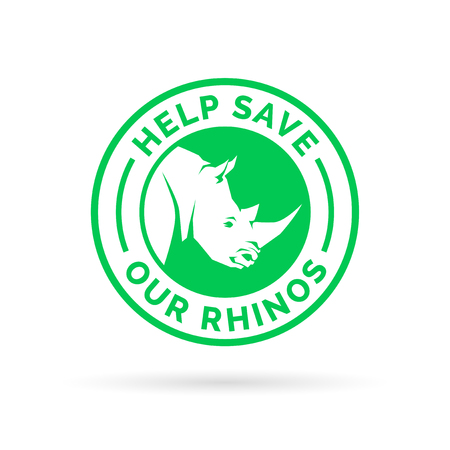 endangered species: Help save and protect our endangered Rhinos from illegal hunting icon badge. Vector illustration. Illustration