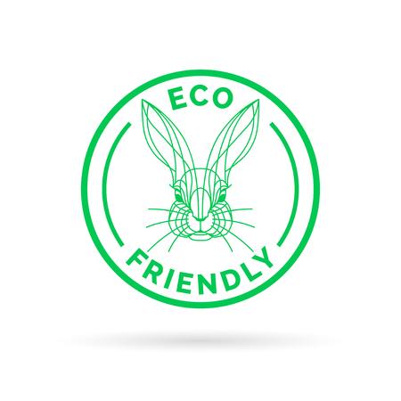 animal cruelty: Eco bio and animal friendly icon with rabbit stamp symbol. Vector illustration.