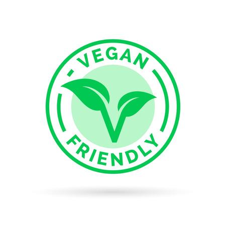 Icona del design Vegan. Vegan emblema cibo. Vegan segno cibo con la lettera 'V' e timbro foglia icona del prodotto. Archivio Fotografico - 57067475