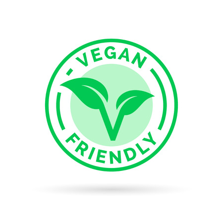 Vegan icon design. Vegan food emblem. Vegan friendly food sign with letter V and leaf icon product stamp.