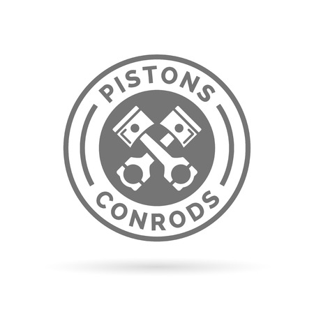 conrod: Pistons and conrods icon. Pistons and rods sign. Car parts symbol. White pistons and conrods emblem in grey circle on white background. Illustration