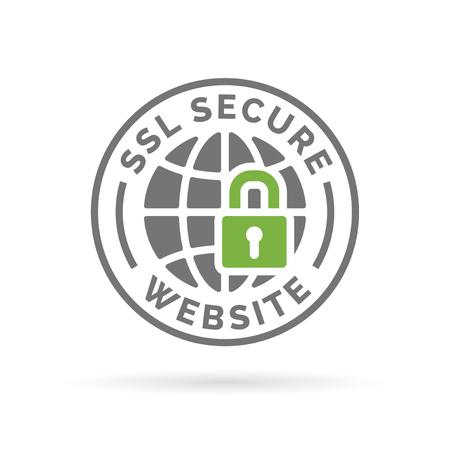 ssl: Secure SSL website icon. Globe with padlock sign. Secure globe symbol. Grey globe with green padlock emblem on white background.