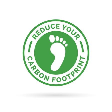 Verminder uw ecologische voetafdruk icoon symbool met groene omgeving voetafdruk badge. Stock Illustratie