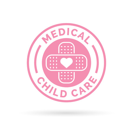 child care: Medical child care badge symbol with pink heart and plaster icon.