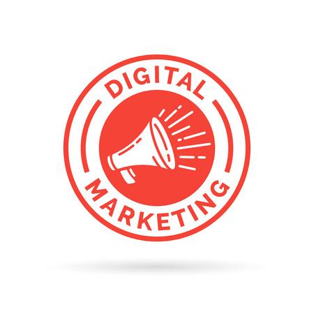 Digital marketing badge emblem with red promotion loudspeaker icon  megaphone symbol.